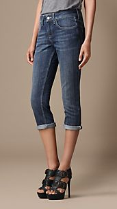 Buckingham Stonewashed Skinny Fit Capri Jeans