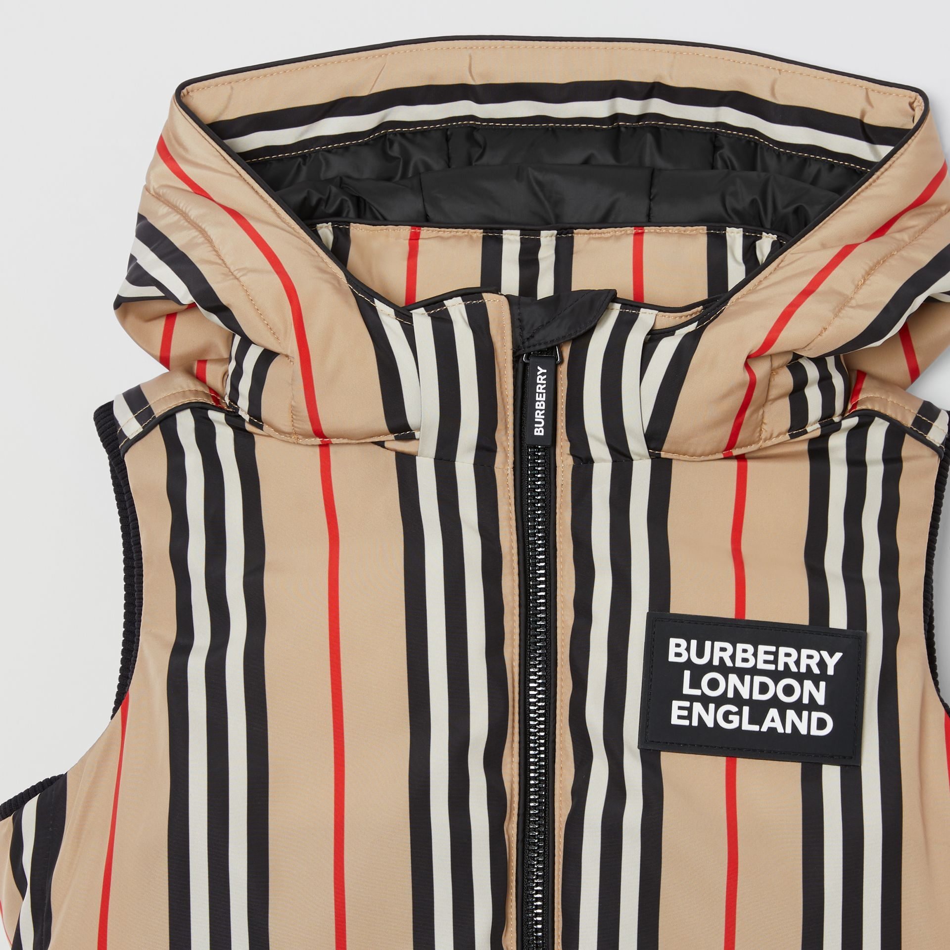 Detachable Hood Icon Stripe Puffer Gilet in Archive Beige   Burberry - gallery image 5