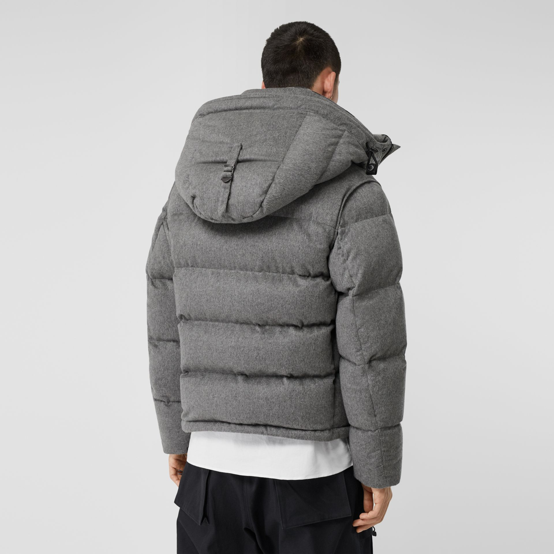 Detachable Sleeve Cashmere Hooded Puffer Jacket in Mid Grey Melange - Men | Burberry - gallery image 2