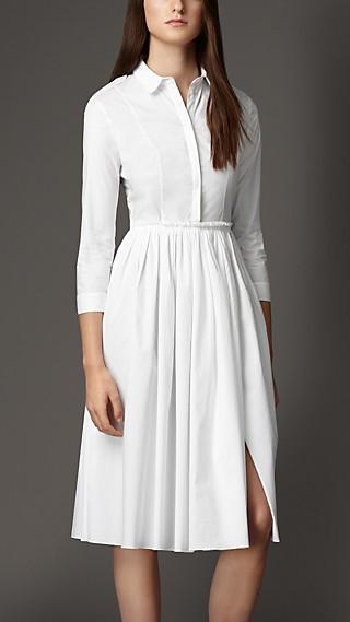 Skirted Stretch-Cotton Shirt Dress
