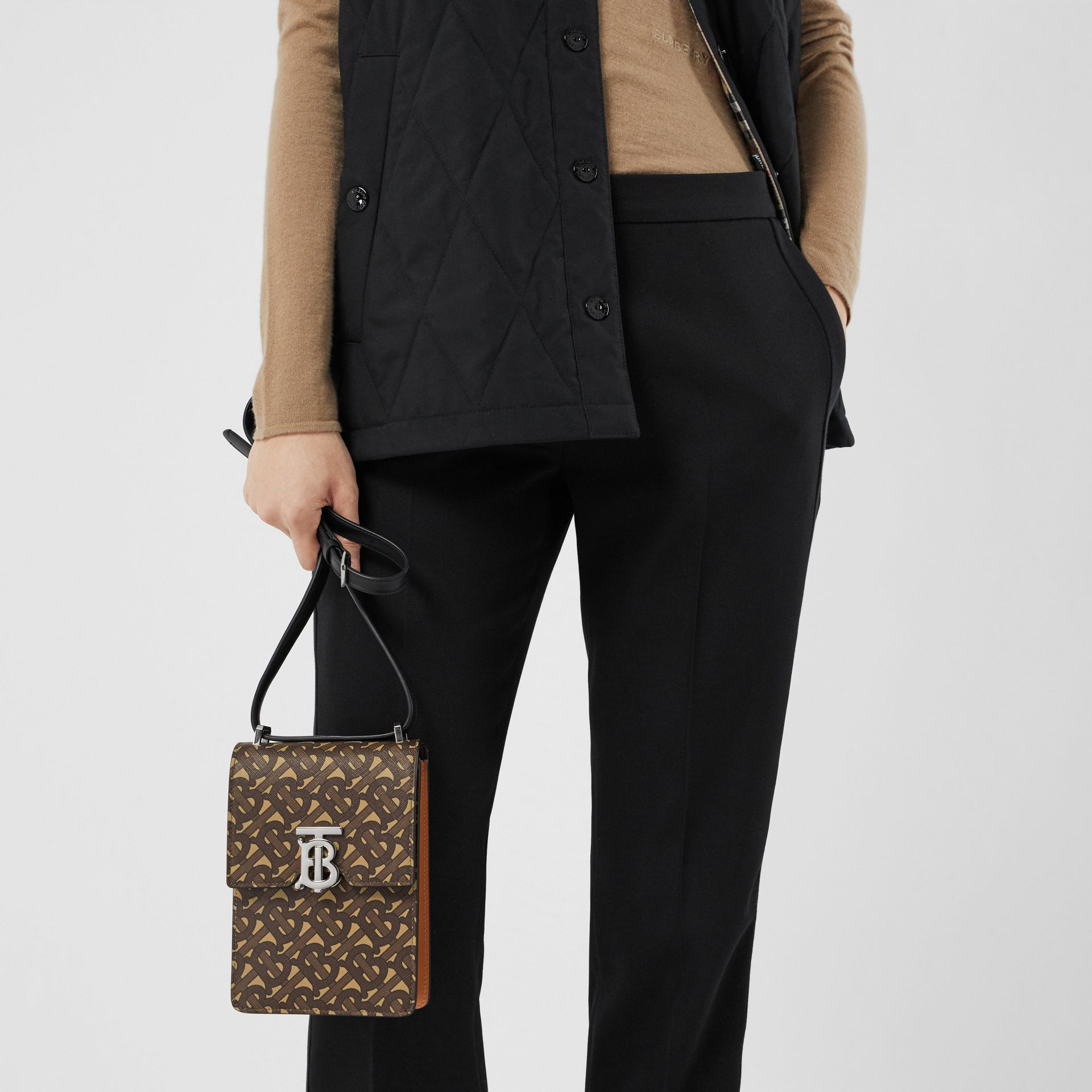 Monogram Print E-canvas Robin Bag in Bridle Brown | Burberry - gallery image 2