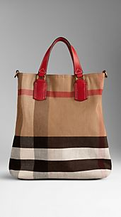 Medium Check Canvas Tote Bag
