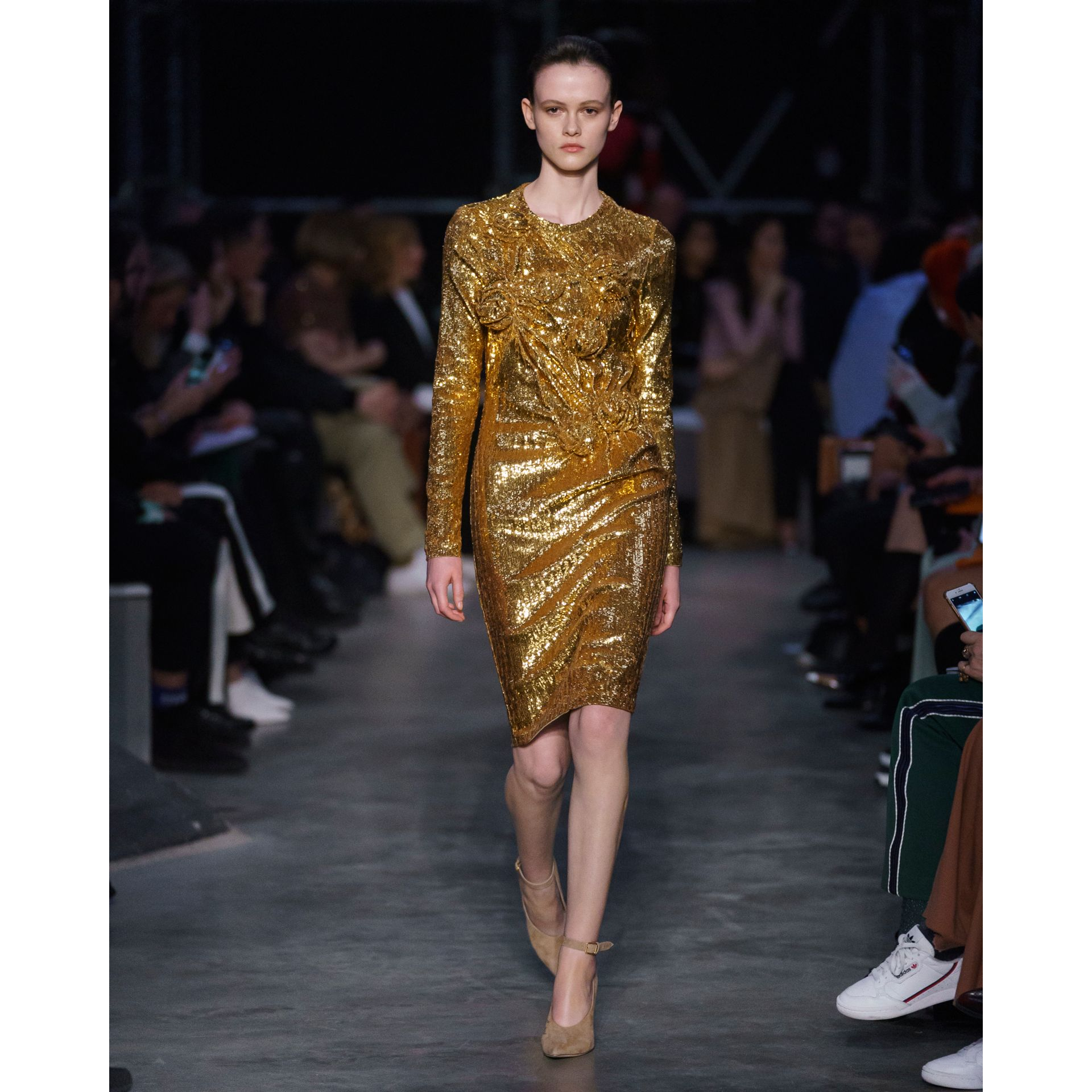 Hand-gathered Detail Sequinned Dress in Honey - Women | Burberry - gallery image 7