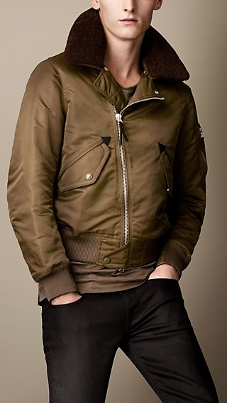 Shearling Collar Aviator Bomber Jacket