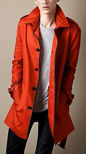 Mid-Length Leather Trim Trench Coat