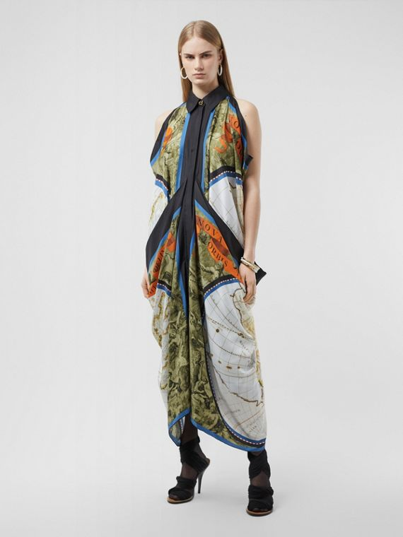 Map Print Draped Silk Dress in Antique Green