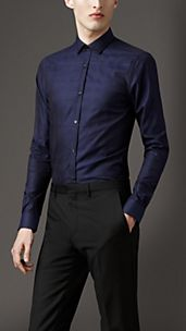 Modern Fit Jacquard Check Cotton Shirt