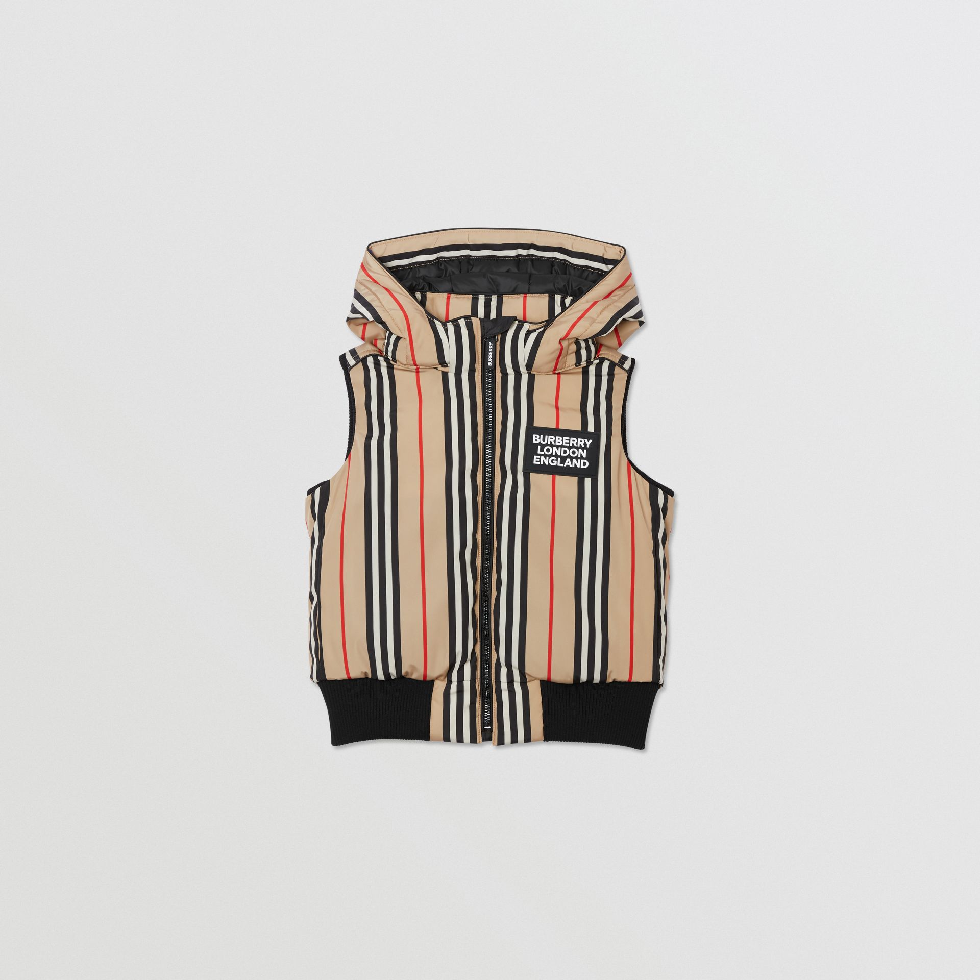 Detachable Hood Icon Stripe Puffer Gilet in Archive Beige   Burberry - gallery image 0