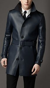 Mid-Length Lambskin Leather Trench Coat