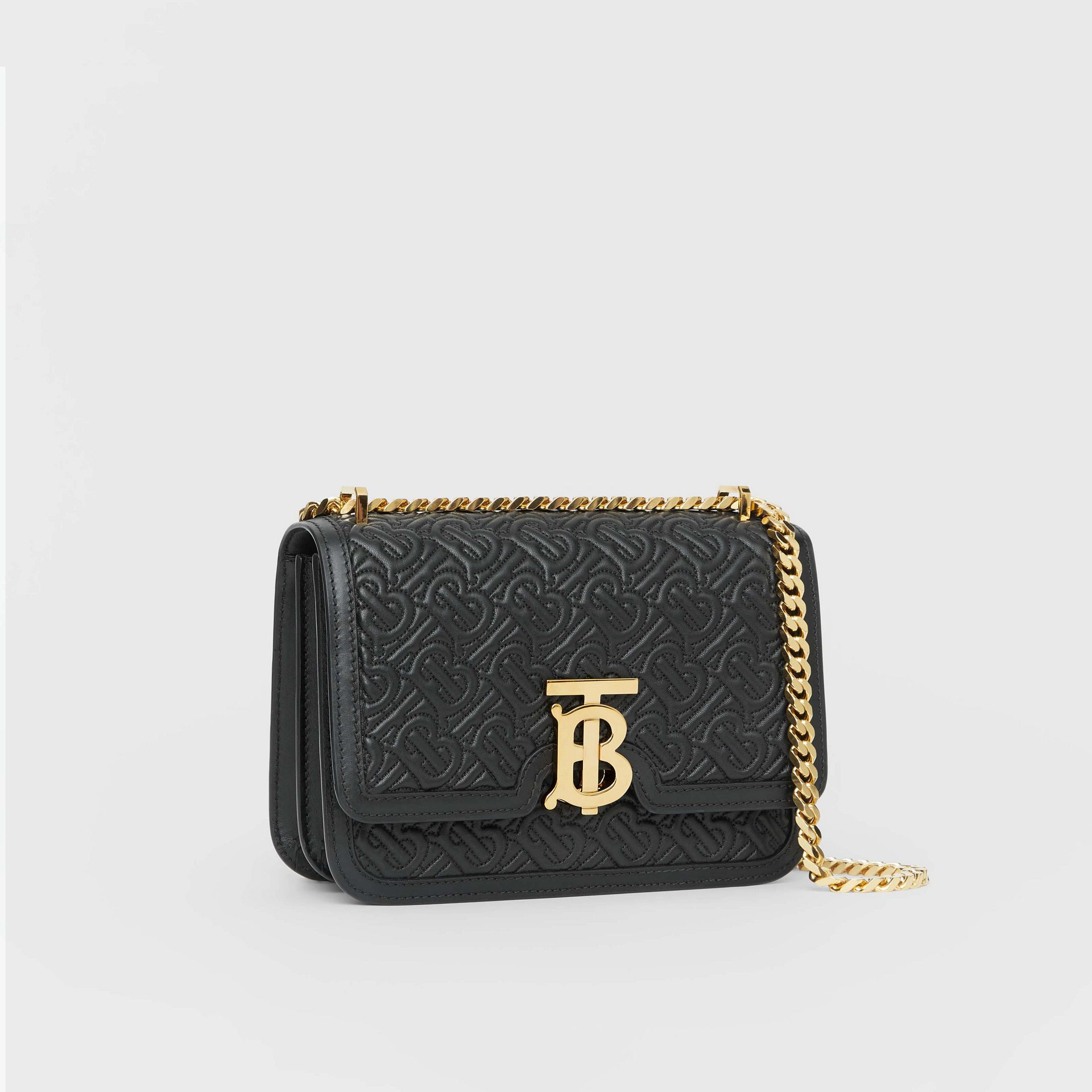 Small Quilted Monogram Lambskin TB Bag in Black - Women | Burberry - gallery image 5