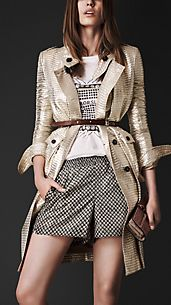 Trench coat in Jacquard metallico