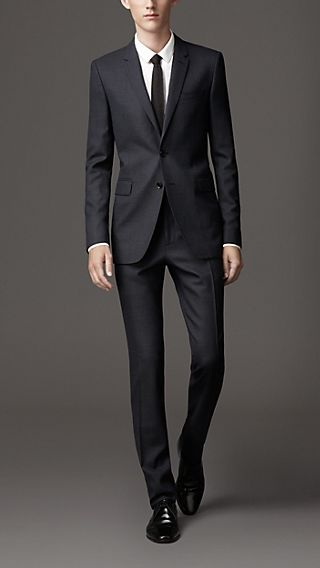 Slim Fit Virgin Wool Birdseye Suit