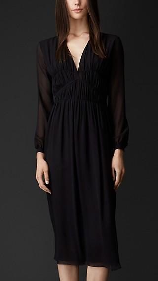 Layered Silk Pleat Detail Dress