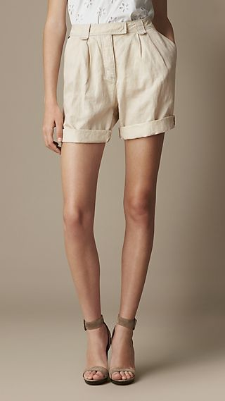 Pleat Detail Cotton Linen Shorts