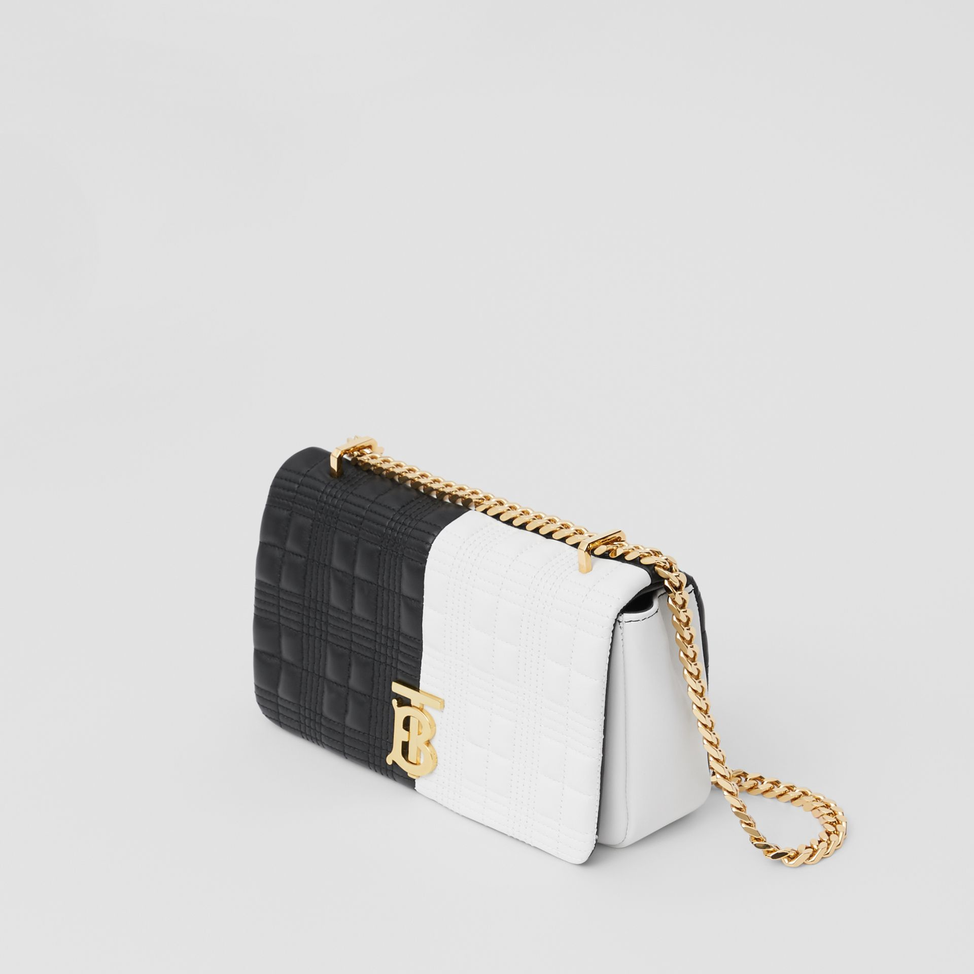 Small Quilted Two-tone Lambskin Lola Bag in White/black - Women | Burberry United Kingdom - gallery image 3