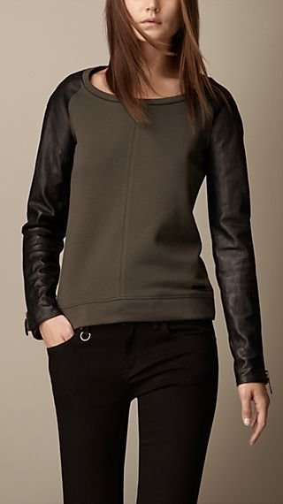 Leather Sleeve Boat Neck Sweater