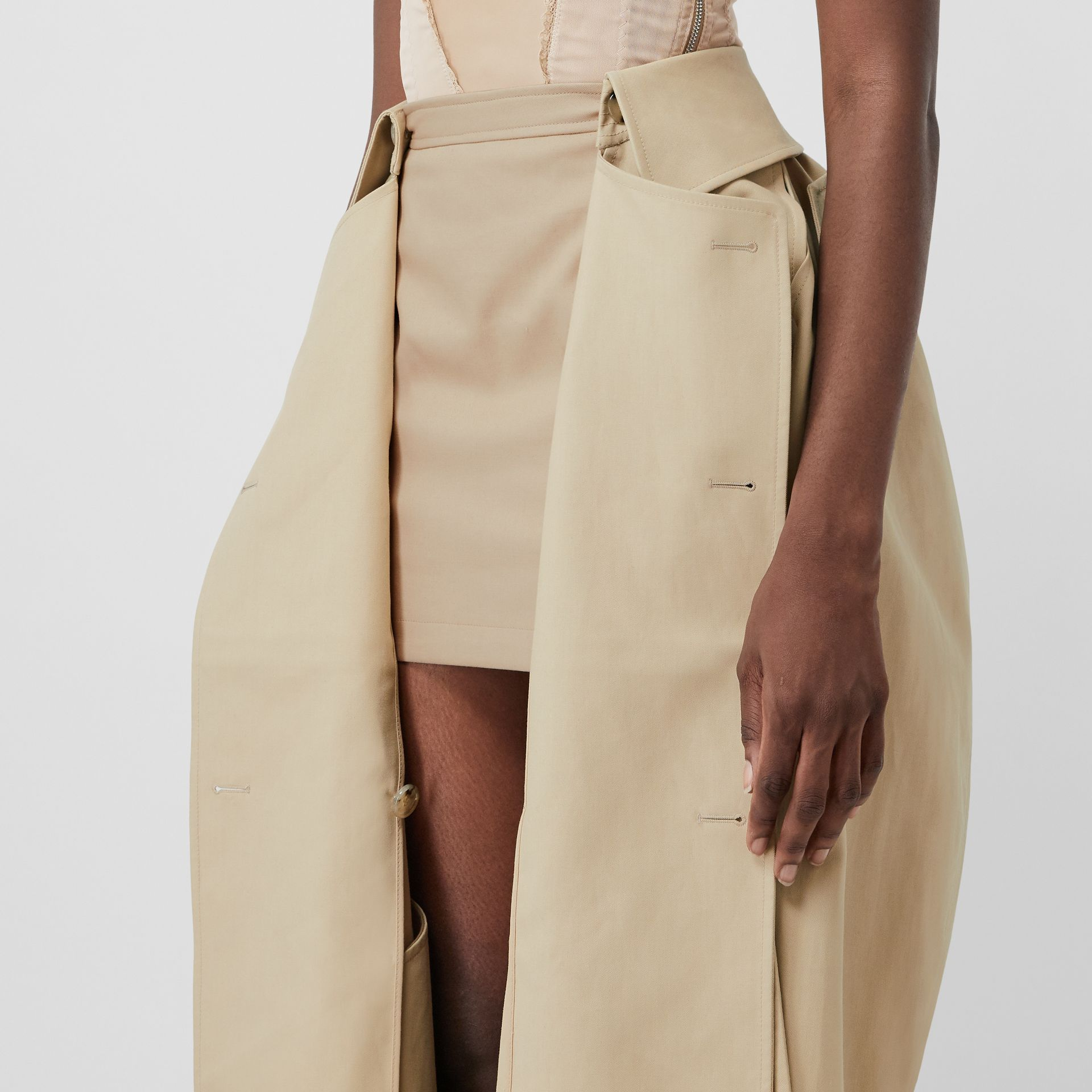 Detachable Trench Coat Detail Cotton Twill Mini Skirt in Soft Fawn - Women | Burberry - gallery image 4