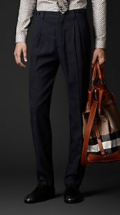 Slim Fit Pleat Front Trousers