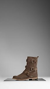 Buckle Detail Suede Ankle Boots