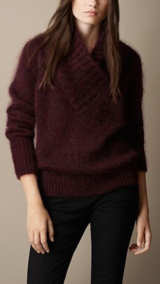 Brushed Mohair Blend Shawl Collar Sweater