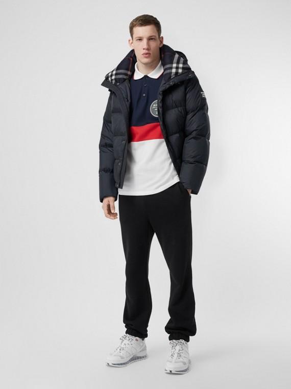 Detachable Sleeve Hooded Puffer Jacket in Navy