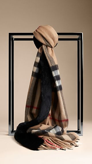 Rabbit Fur Trim Cashmere Check Scarf