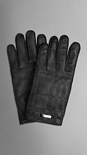 Check Embossed Leather Gloves