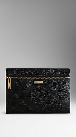 Medium Embossed Check Leather Clutch Bag