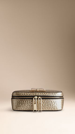 Metallic Heritage Grain Leather Cosmetics Case