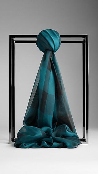Schal aus Seidenchiffon mit Check-Muster