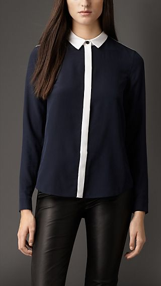 Colour Block Silk Shirt