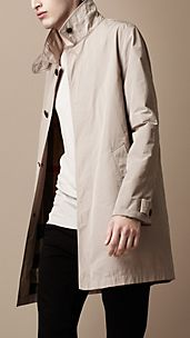 Mid-Length Technical Fabric Trench Coat