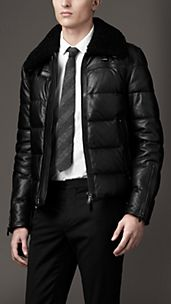 Down-Filled Leather Aviator Jacket