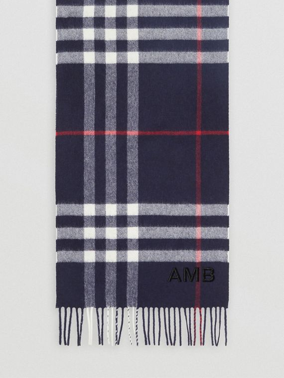 The Classic Check Cashmere Scarf in Navy