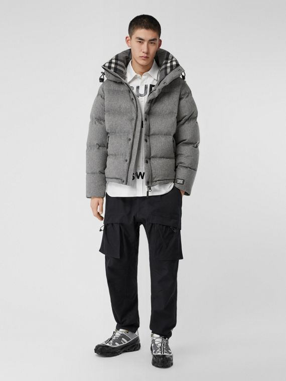 Detachable Sleeve Cashmere Hooded Puffer Jacket in Mid Grey Melange