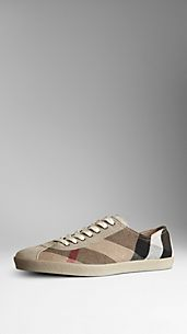 Check Canvas Suede Detail Trainers