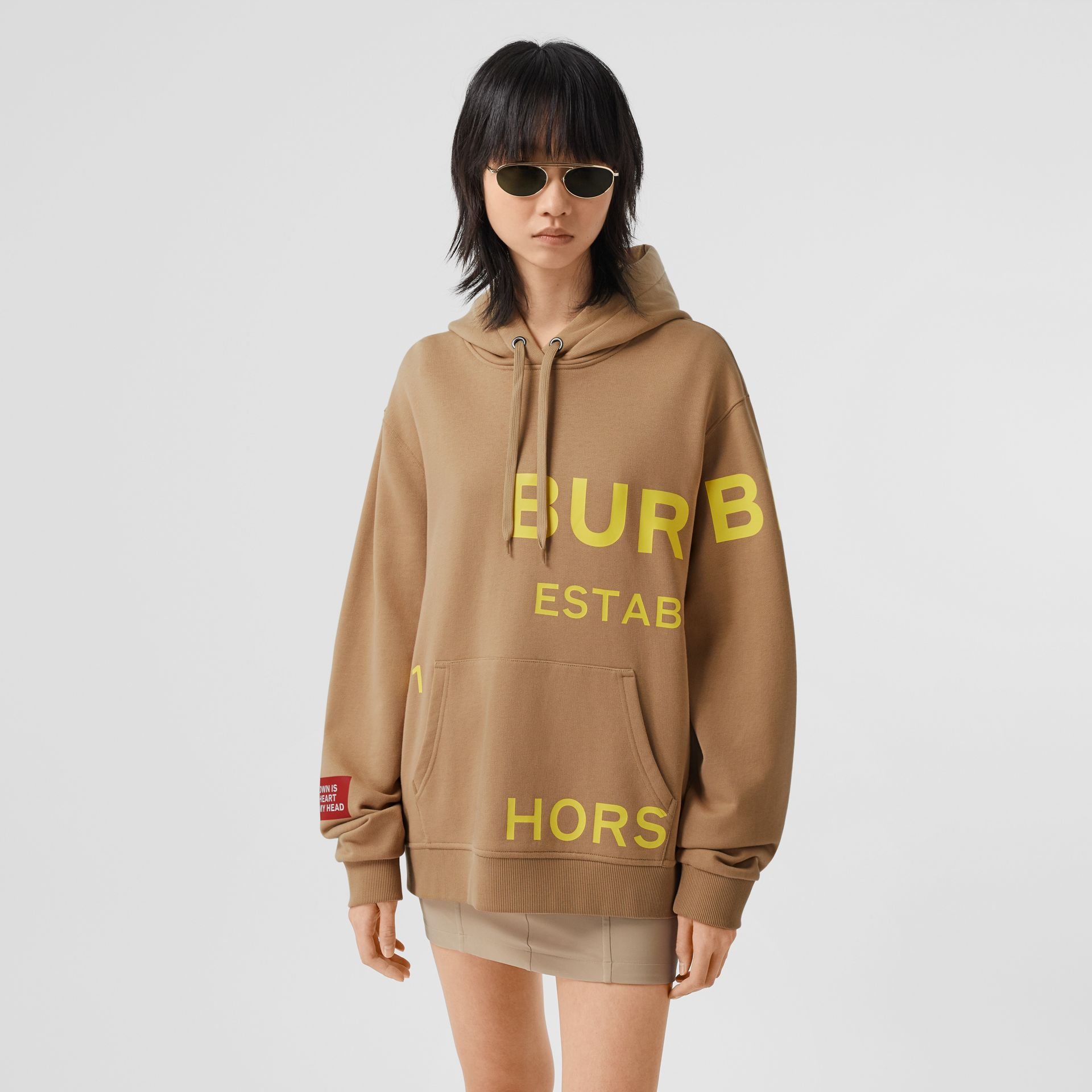 Horseferry Print Cotton Oversized Hoodie in Archive Beige | Burberry United Kingdom - gallery image 4