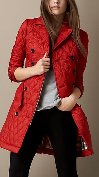 Mid-length Diamond Quilt Trench Coat