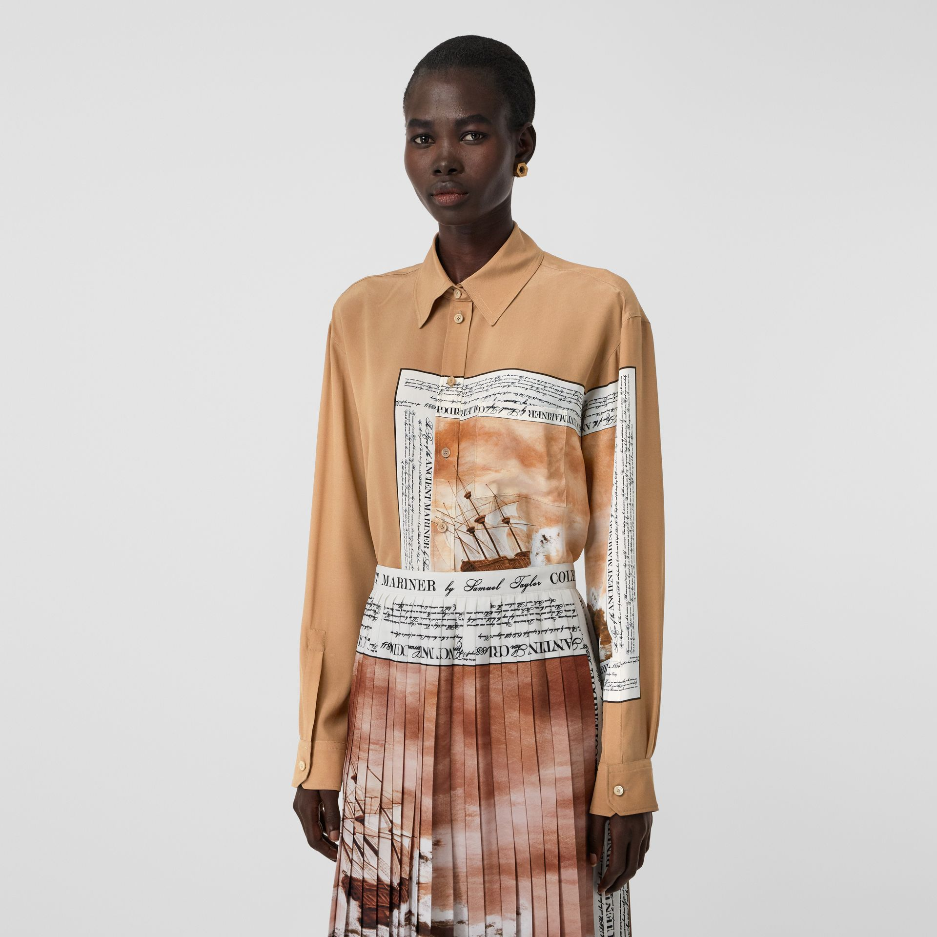 Mariner Print Silk Oversized Shirt in Bronze - Women | Burberry - gallery image 4