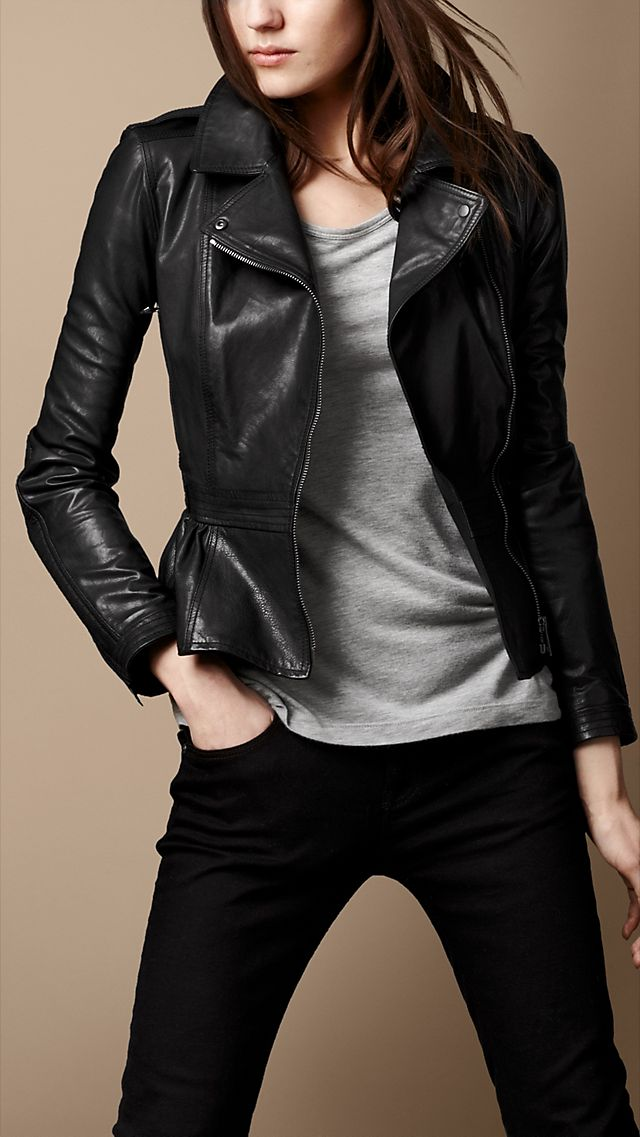 Leather Peplum Biker Jacket