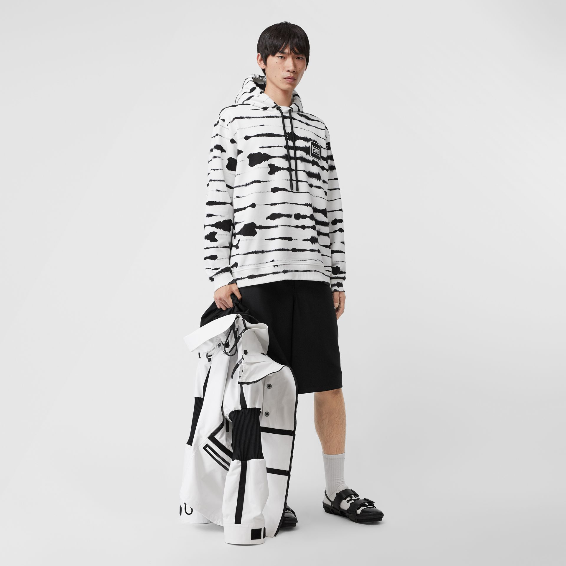 Logo Appliqué Watercolour Print Cotton Hoodie in Monochrome | Burberry Australia - gallery image 6