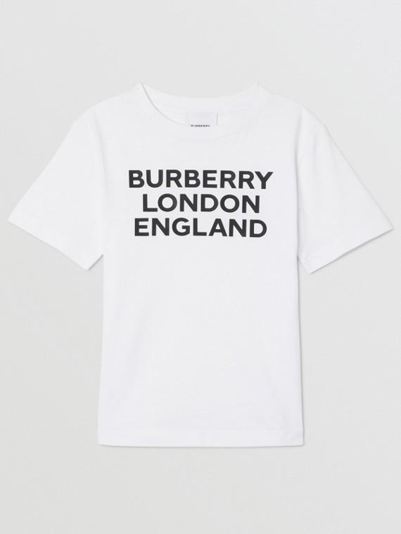 T-shirt in cotone con logo (Bianco)