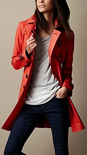 Mid-Length Cotton Poplin Trench Coat