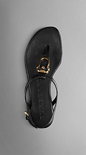 Equestrian Buckle Flat Leather Sandals