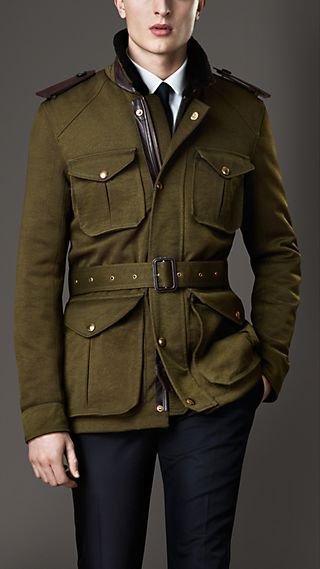Shearling Collar Field Jacket with Warmer