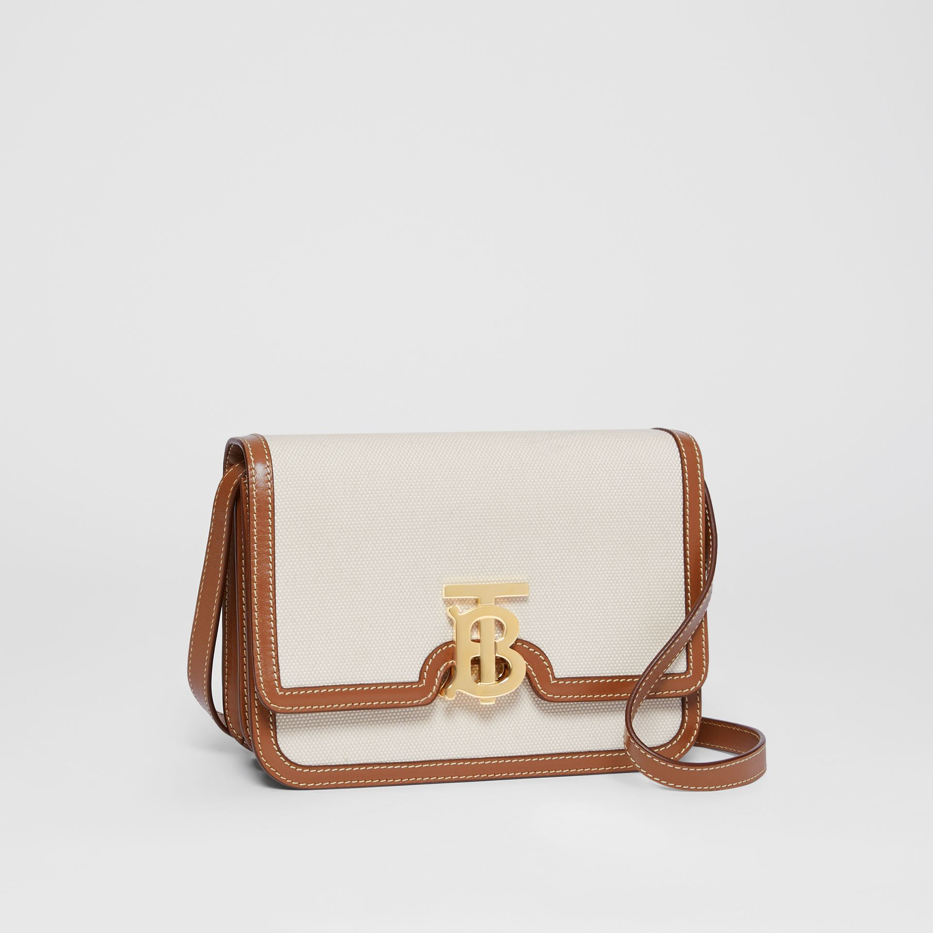 Small Two-tone Canvas and Leather TB Bag in Natural/malt Brown | Burberry - gallery image 5