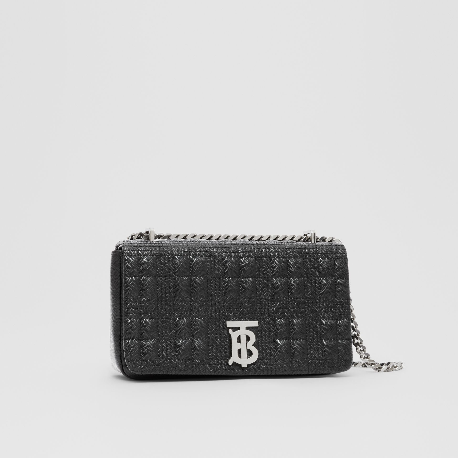 Small Quilted Grainy Leather Lola Bag in Black/palladium | Burberry United Kingdom - gallery image 8