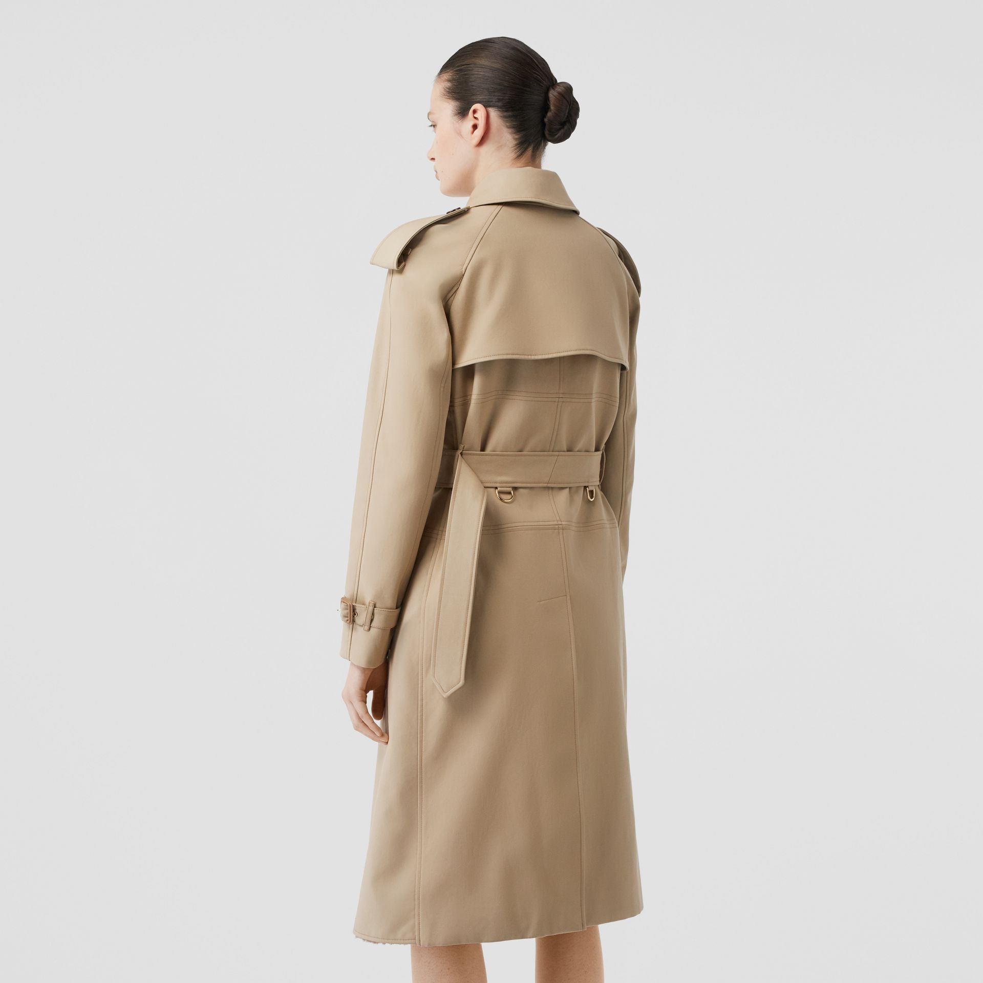 Deconstructed Cotton and Shearling Trench Coat in Honey - Women | Burberry - gallery image 2