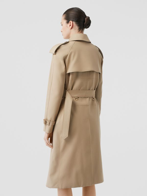 Deconstructed Cotton and Shearling Trench Coat in Honey - Women | Burberry - cell image 2