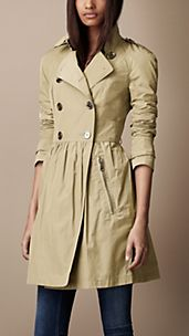 Mid-Length Lightweight Technical Fabric Gathered Skirt Trench Coat